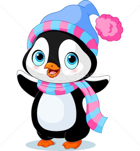 Aranyos tél pingvin kalap sál természet Stock fotó © Dazdraperma