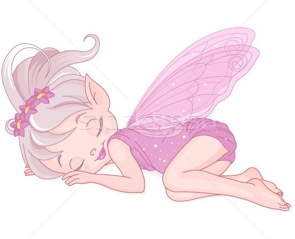Dormir fée illustration cute rose art Photo stock © Dazdraperma
