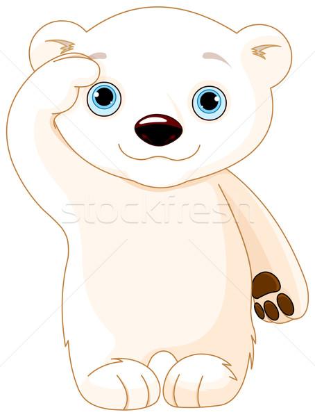 Urso polar ilustração bebê arte cartão desenho Foto stock © Dazdraperma