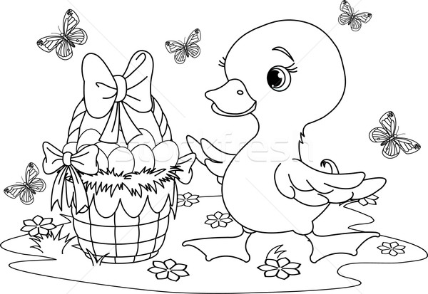 Easter duckling. Coloring page Stock photo © Dazdraperma