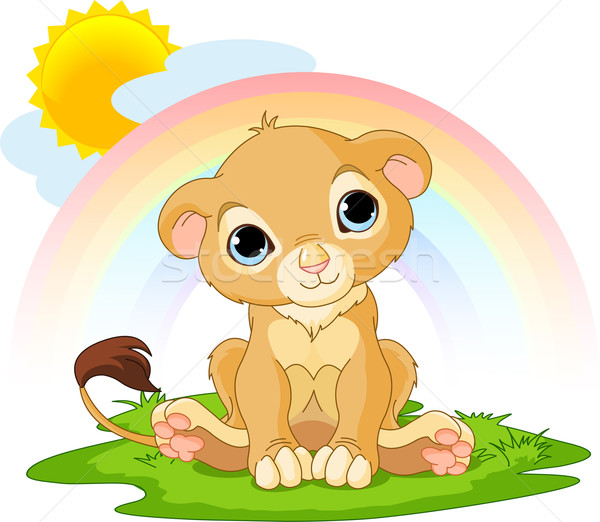 Happy  lion cub Stock photo © Dazdraperma