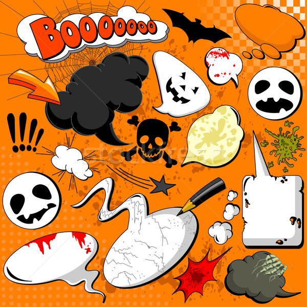Foto stock: Halloween · cômico · livro · projeto · laranja