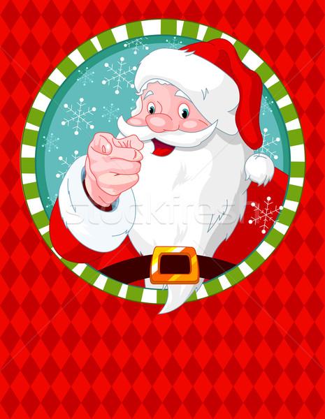 Kerstman wijzend wenskaart sneeuw achtergrond cartoon Stockfoto © Dazdraperma