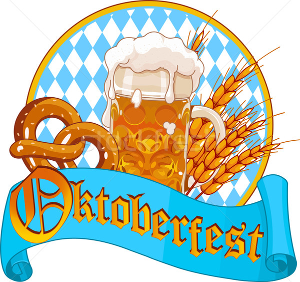 Stockfoto: Oktoberfest · viering · ontwerp · bier · zoute · krakeling · glas