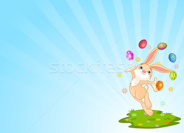 Jongleren bunny cute weinig paaseieren Pasen Stockfoto © Dazdraperma