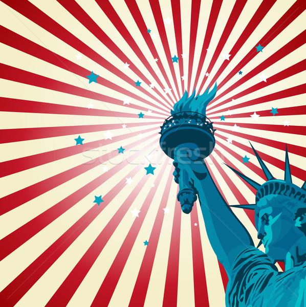 Statue liberté affiche pavillon silhouette carte Photo stock © Dazdraperma
