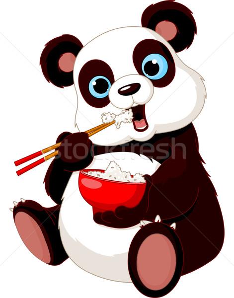 Panda yeme pirinç Çin yemek çubukları sanat eğlence Stok fotoğraf © Dazdraperma