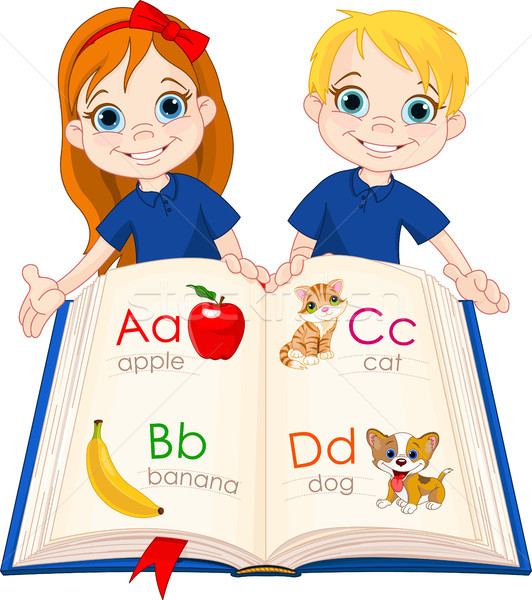 Two kids and ABC book Stock photo © Dazdraperma