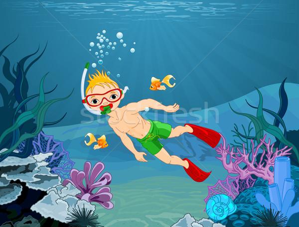 Duiker jongen illustratie cute kinderen natuur Stockfoto © Dazdraperma