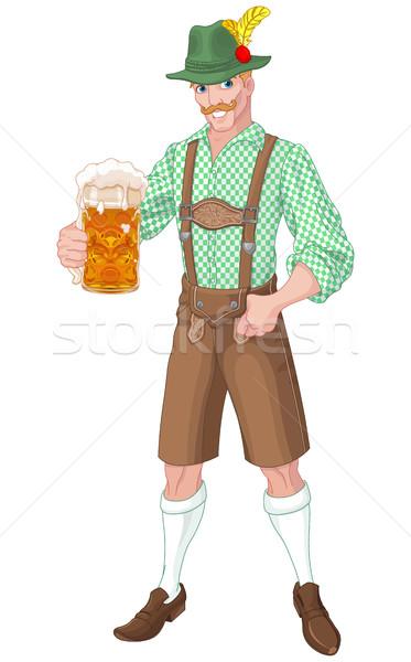 Oktoberfest fickó illusztráció ünnepel alkohol kocsma Stock fotó © Dazdraperma