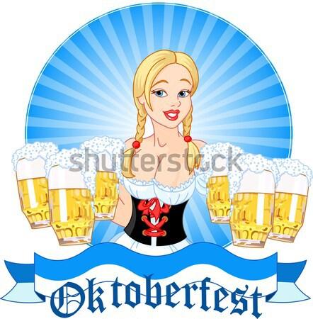 Oktoberfest kız örnek komik bira Stok fotoğraf © Dazdraperma