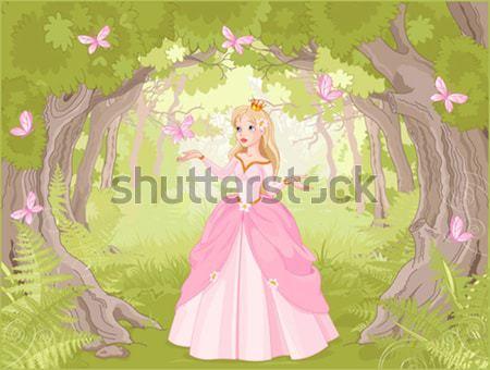 Foto d'archivio: Bella · rosso · principessa · illustrazione · primavera · foresta