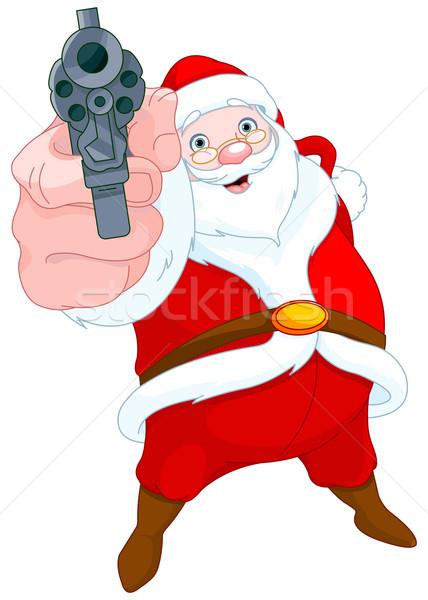 Rabló mikulás illusztráció aranyos fegyver piros Stock fotó © Dazdraperma