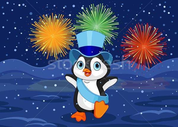 Nouvelle année pingouin illustration bébé résumé feux d'artifice Photo stock © Dazdraperma
