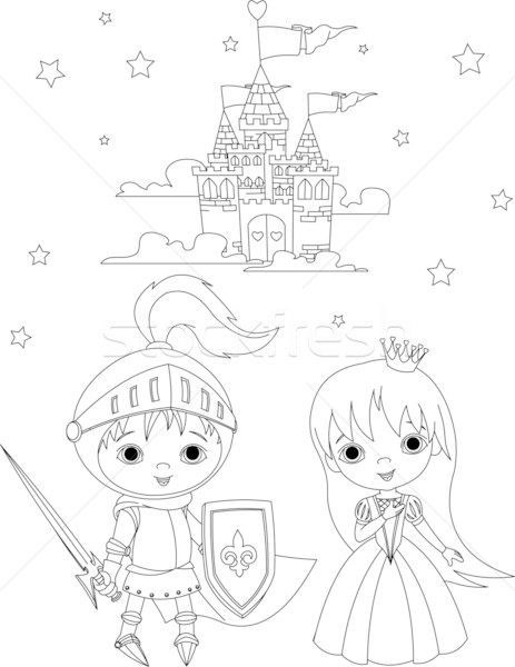 Stock photo: Medieval knight and princess coloring page
