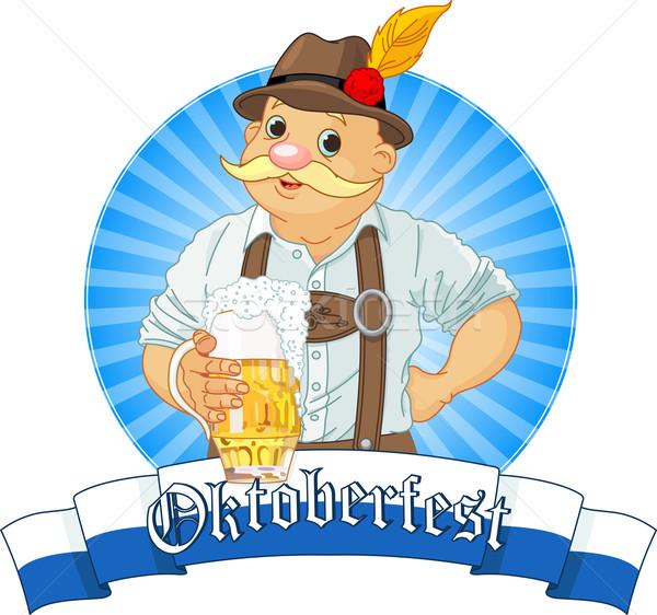 Oktoberfest label streep tekst partij glas Stockfoto © Dazdraperma