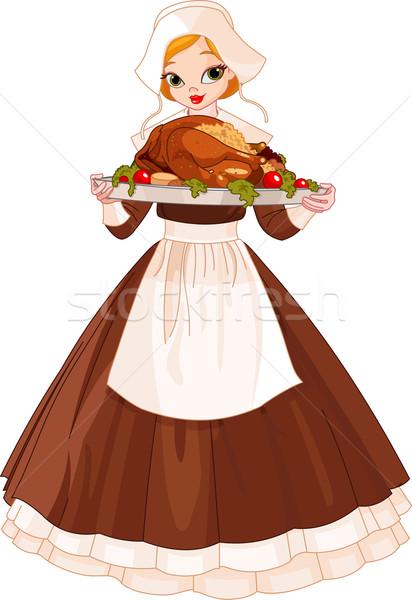 Peregrino menina prato mulher jovem grande Foto stock © Dazdraperma