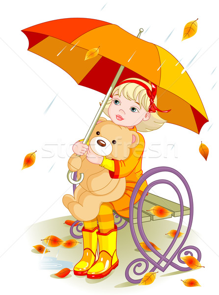 Little girl and Teddy Bear under rain Stock photo © Dazdraperma