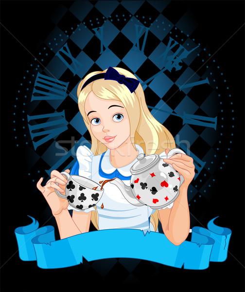 Stock photo: Alice takes tea cup