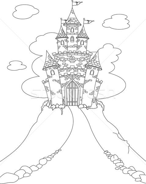magic castle coloring page vector illustration © anna