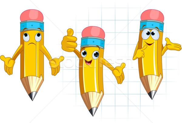 Ceruza karakter arckifejezések pózol különböző arc Stock fotó © Dazdraperma