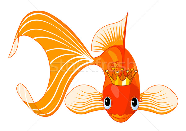 Goldfish королева иллюстрация счастливым красивой тиара Сток-фото © Dazdraperma