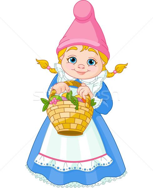 Garden Gnome with basket Stock photo © Dazdraperma