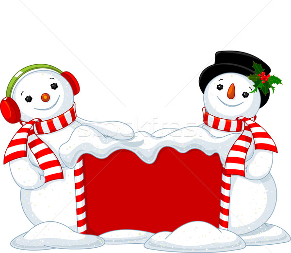 Christmas board and two Snowmen Stock photo © Dazdraperma