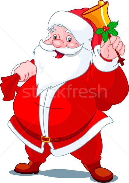 Happy Santa with bell Stock photo © Dazdraperma