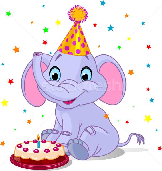 Baby olifant verjaardag illustratie cute kunst Stockfoto © Dazdraperma