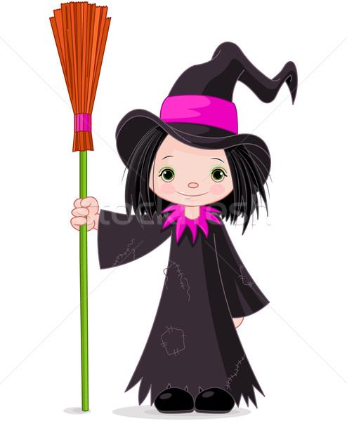 Halloween bruja arte negro jóvenes sombrero Foto stock © Dazdraperma