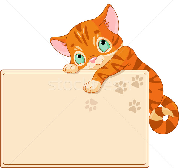 Cute kitten Invite or Placard Stock photo © Dazdraperma