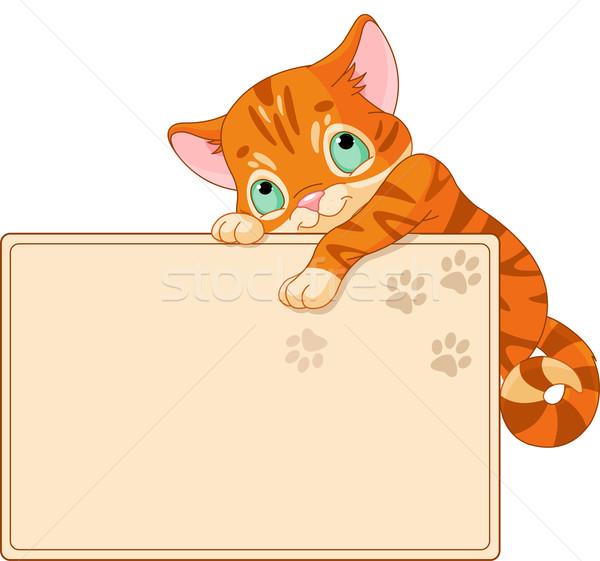 Cute kitten Invite or Placard Stock photo © Dazdraperma