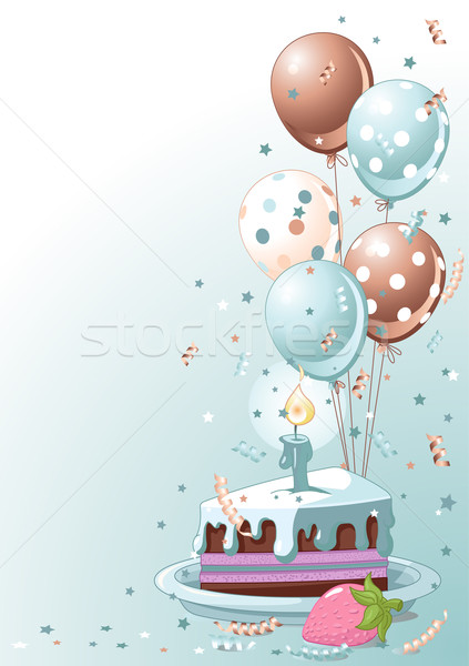 Slice Of  Birthday Cake With Balloons Stock photo © Dazdraperma
