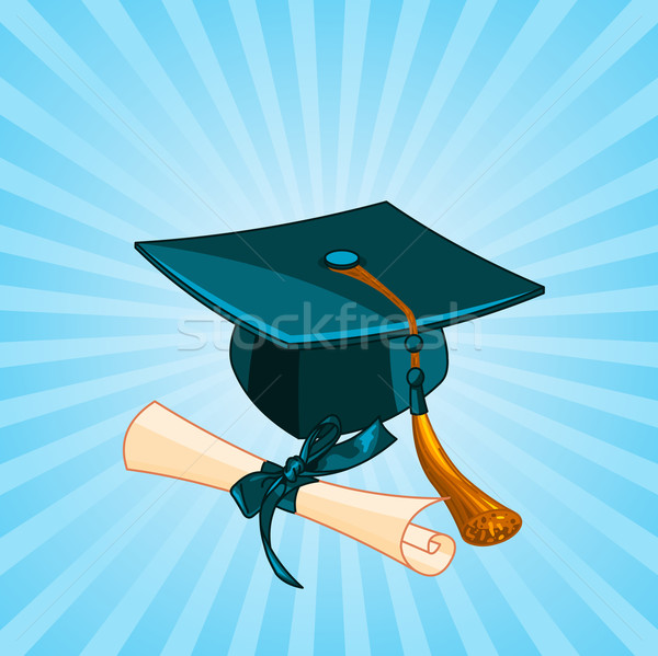 Graduation cap and diploma radial background Stock photo © Dazdraperma