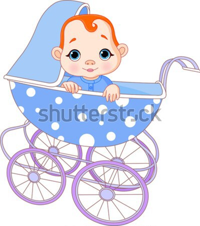 Baby boy sitting in carriage Stock photo © Dazdraperma