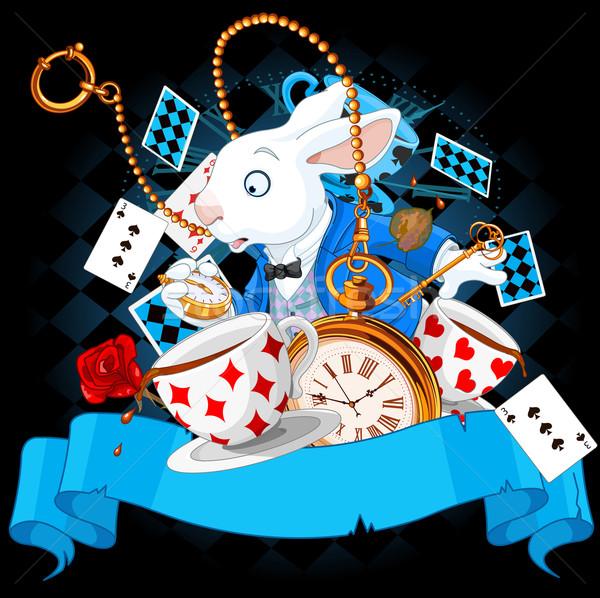 страна чудес дизайна иллюстрация Bunny Элементы книга Сток-фото © Dazdraperma