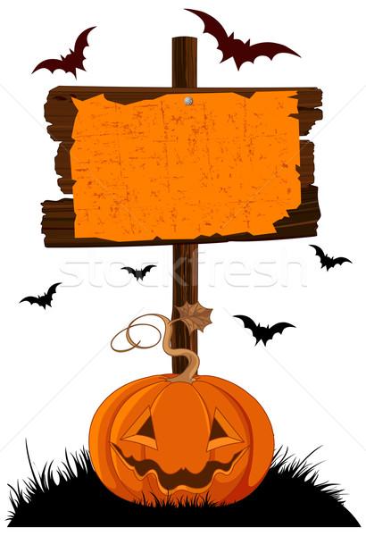 Halloween illustratie pompoen gras oranje Stockfoto © Dazdraperma