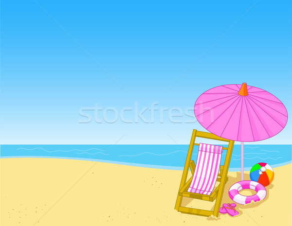 Zomer strand illustratie zee achtergrond oceaan Stockfoto © Dazdraperma