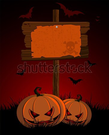 Halloween wooden  sign Stock photo © Dazdraperma