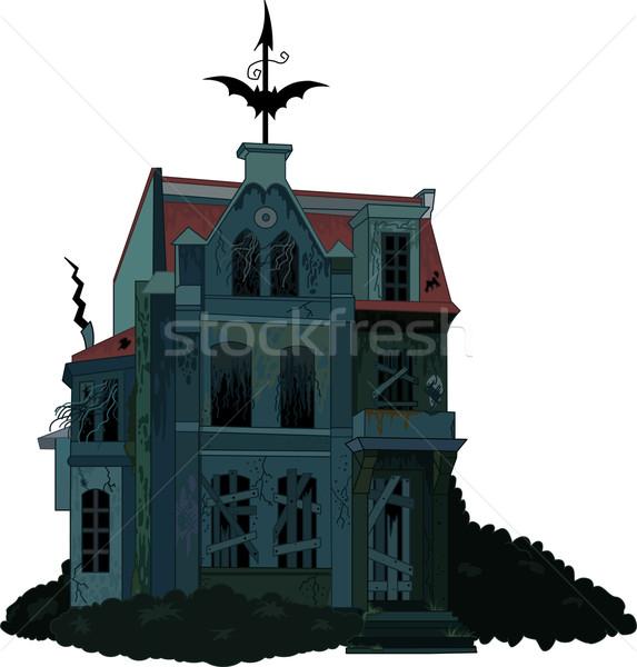 Ijesztő kisértetjárta ház illusztráció szellem épület Stock fotó © Dazdraperma
