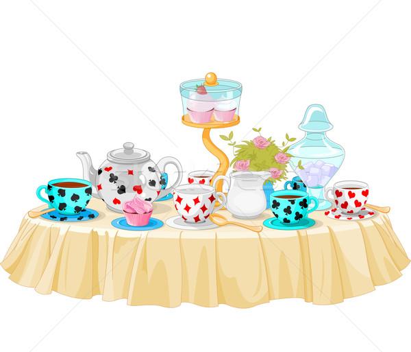 Tea buli csodaország díszített asztal torta Stock fotó © Dazdraperma