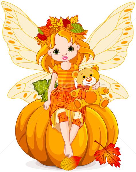 осень мало фея сидят тыква улыбка Сток-фото © Dazdraperma