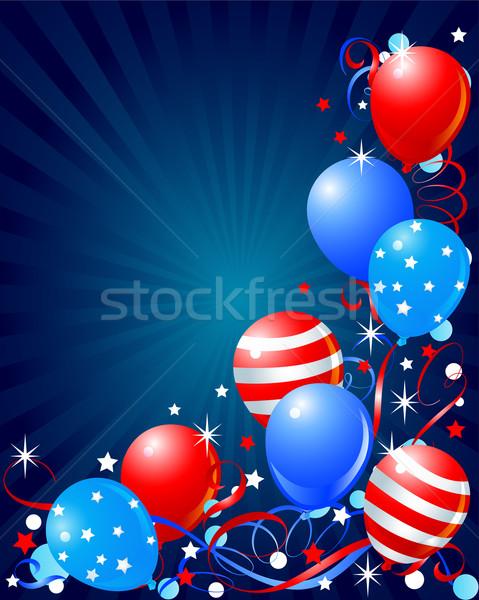Balonlar kart dördüncü renkli arka plan web Stok fotoğraf © Dazdraperma