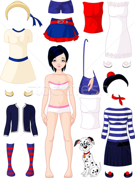 Stock photo: Paper doll with clothing