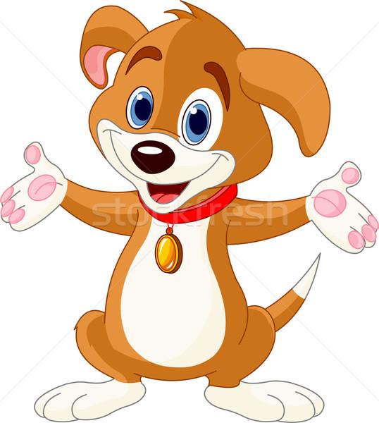 Cute Puppy raising his hands Stock photo © Dazdraperma