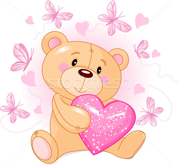 мишка любви сердце Cute сидят розовый Сток-фото © Dazdraperma