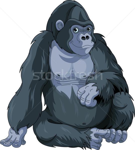 ül gorilla illusztráció aranyos rajz kép Stock fotó © Dazdraperma