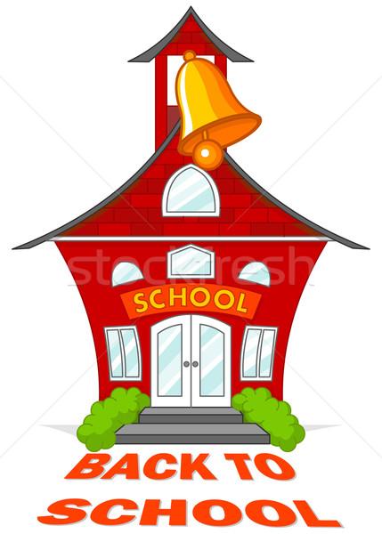 Terug naar school illustratie cute school gebouw bel Stockfoto © Dazdraperma