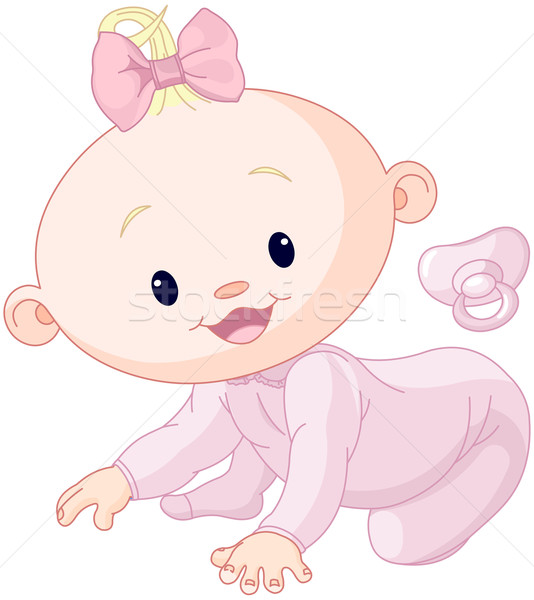 Stockfoto: Cute · baby · illustratie · meisje · gelukkig